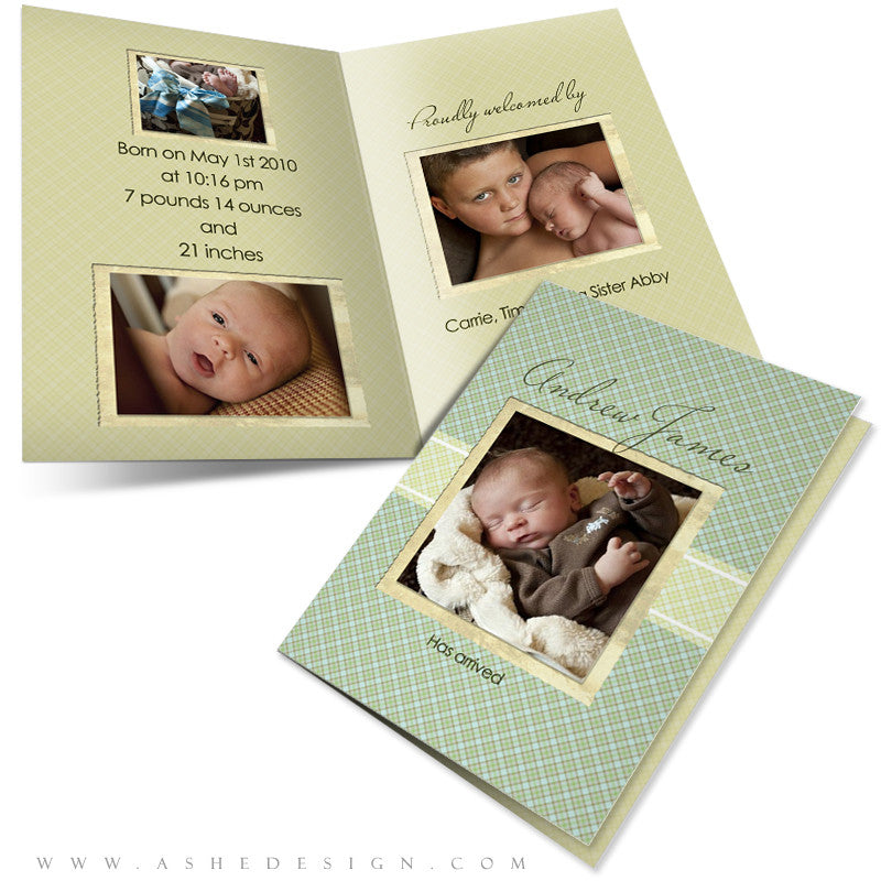 Folded Birth Announcement Templates | Andrew James