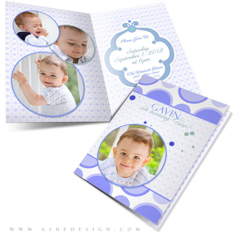 5x7 Folded Birthday Invitation - Bubble Gum Blue