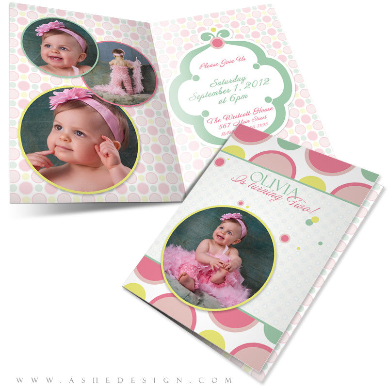 5x7 Folded Birthday Invitation - Bubble Gum Pink