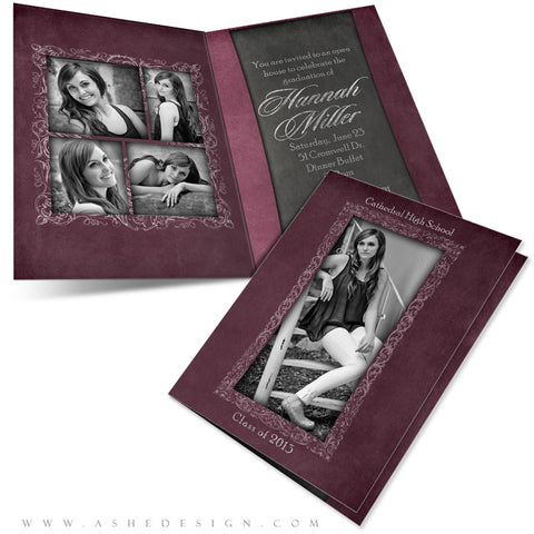 5x7 Folded Card Design - Chalkboard Senior Girl
