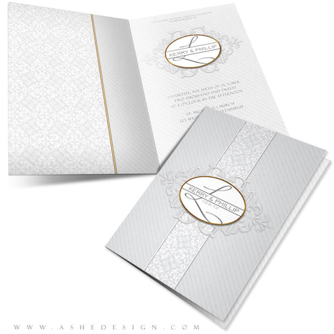 5x7 Folded Wedding Invitation - Embossed