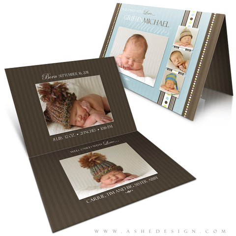 5x7 Folded Birth Announcement - Griffin Michael