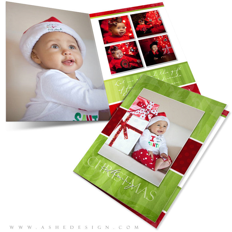 5x7 Folded Christmas Card - Merry & Bright
