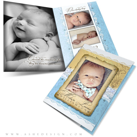 Birth Announcement 5x7 Folded Card - Milan Lucas