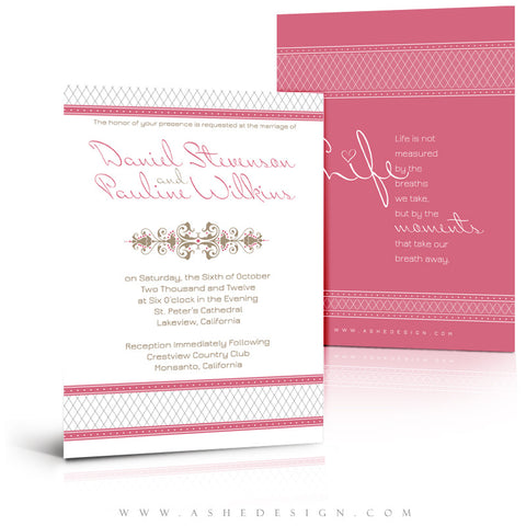 5x7 Flat Wedding Invitation - Raspberry Cream
