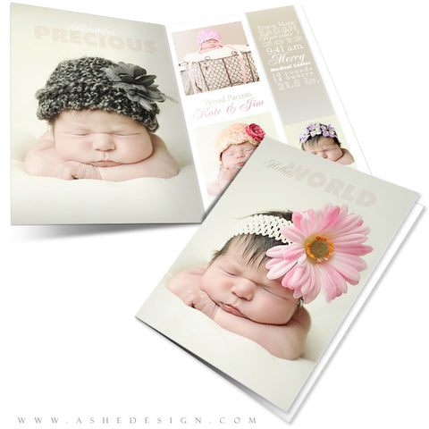 5x7 Folded Birth Announcement - Sculpting Words