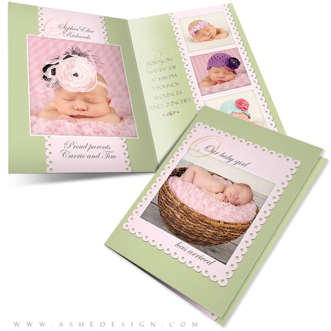 5x7 Folded Birth Announcement - Sophia Elise
