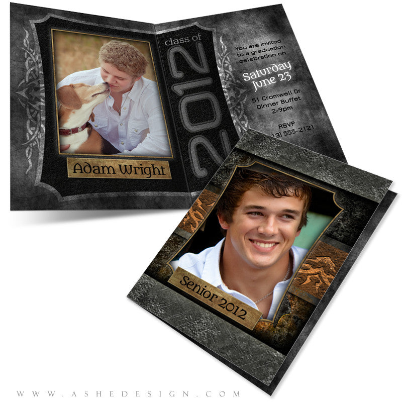 5x7 Folded Senior Boy Graduation Invitation - Tattooed