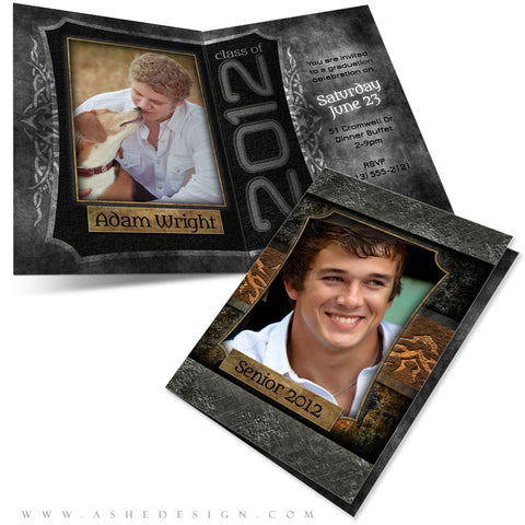 5x7 Folded Senior Boy Graduation Card - Tattooed