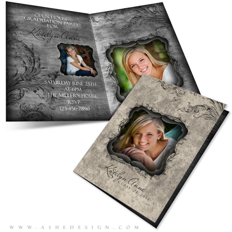 5x7 Folded Graduation Card - Timeless Beauty