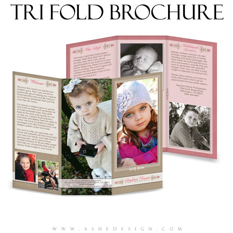 8.5x11 Tri-Fold Brochure - Raspberry Cream