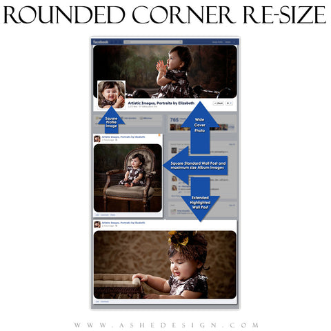 Ashe Design | Photoshop Action 8-in-1 Set | FB Rounded Corner Resize