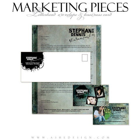 Business Card & Letterhead Set - Blue Latte Grunge