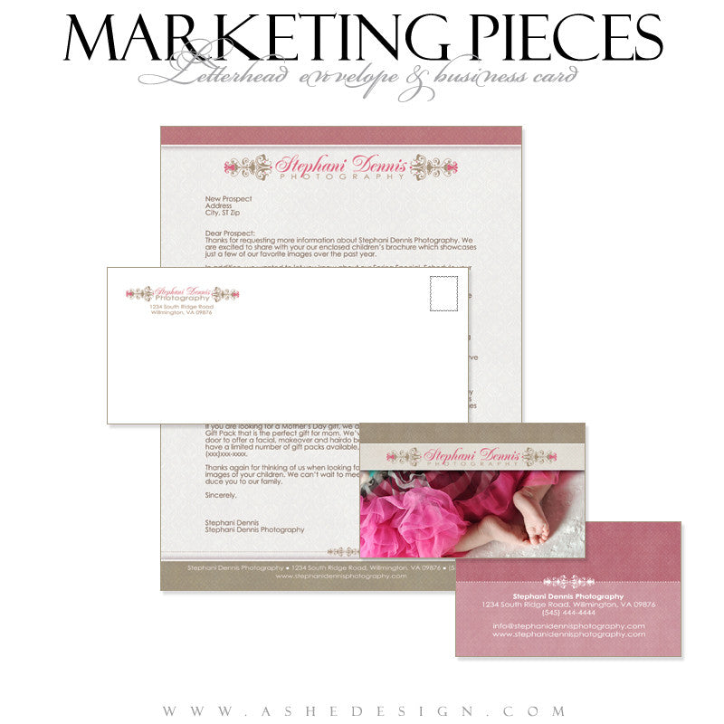 Business Card & Letterhead Set Designs - Raspberry Cream