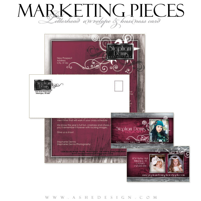 Business Card & Letterhead Set Designs - Steel Magnolia