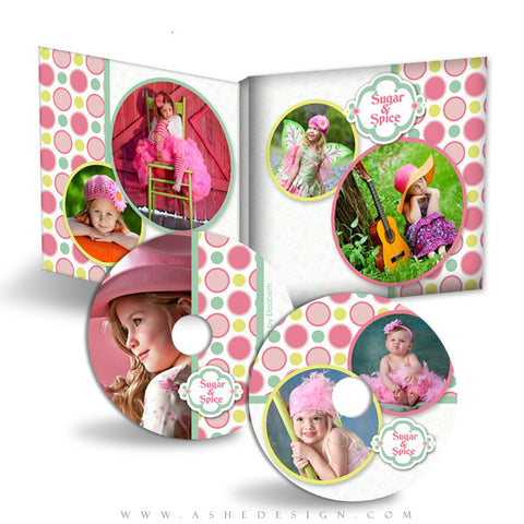 CD/DVD Label & Case Design Set - Bubble Gum