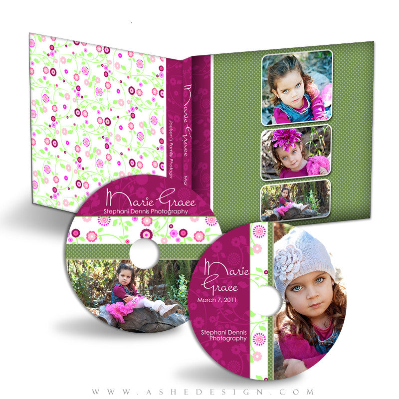 CD/DVD Label & Case Design Set - Floral Harmony