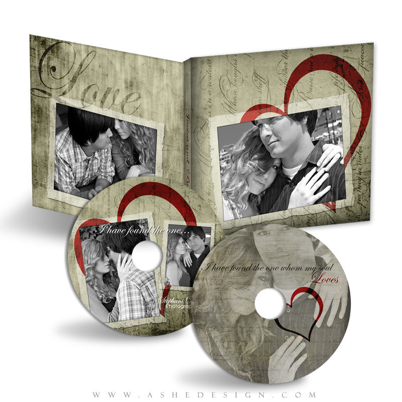 CD/DVD Label & Case Design Set - Love Letters