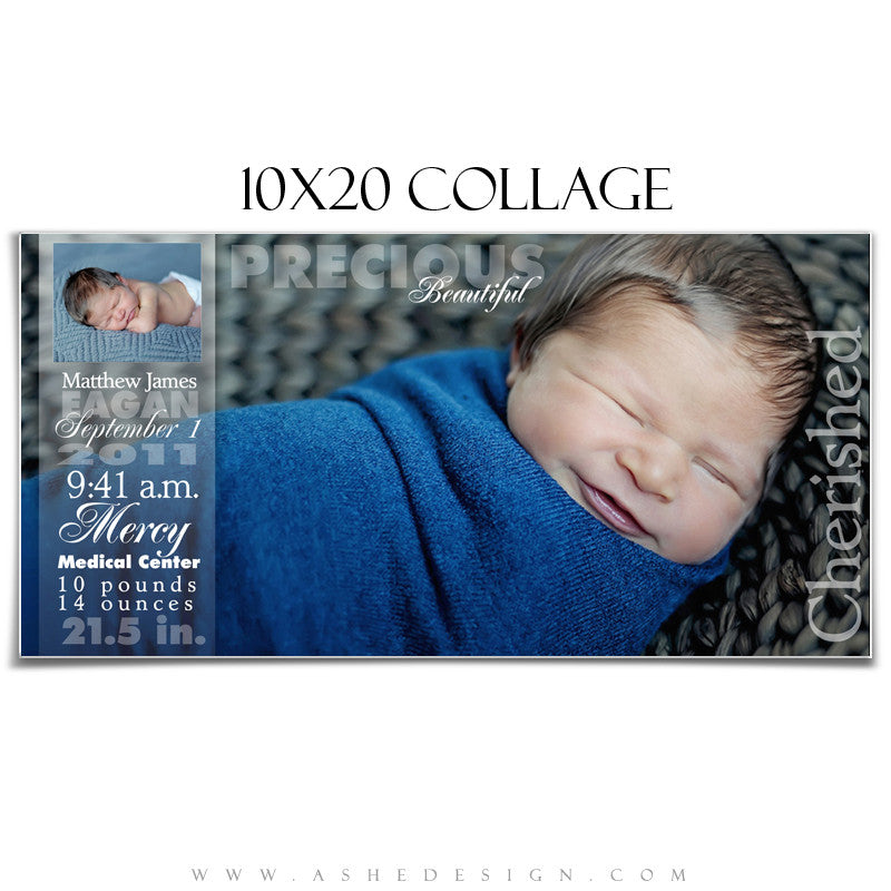 Ashe Design | 10x20 Newborn Photography Template | Sculpting Words