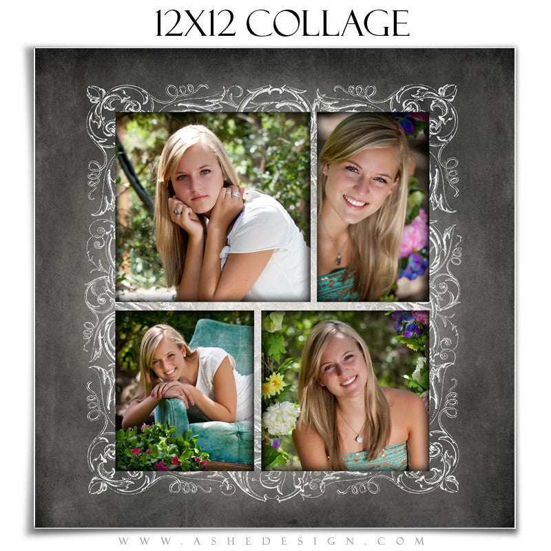 Senior Girl Collage (12x12) - Chalkboard Senior Girl
