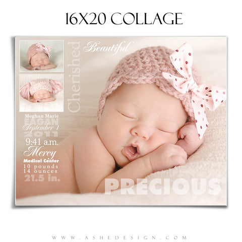 Ashe Design | Sculpting Words 16x20 Newborn Collage