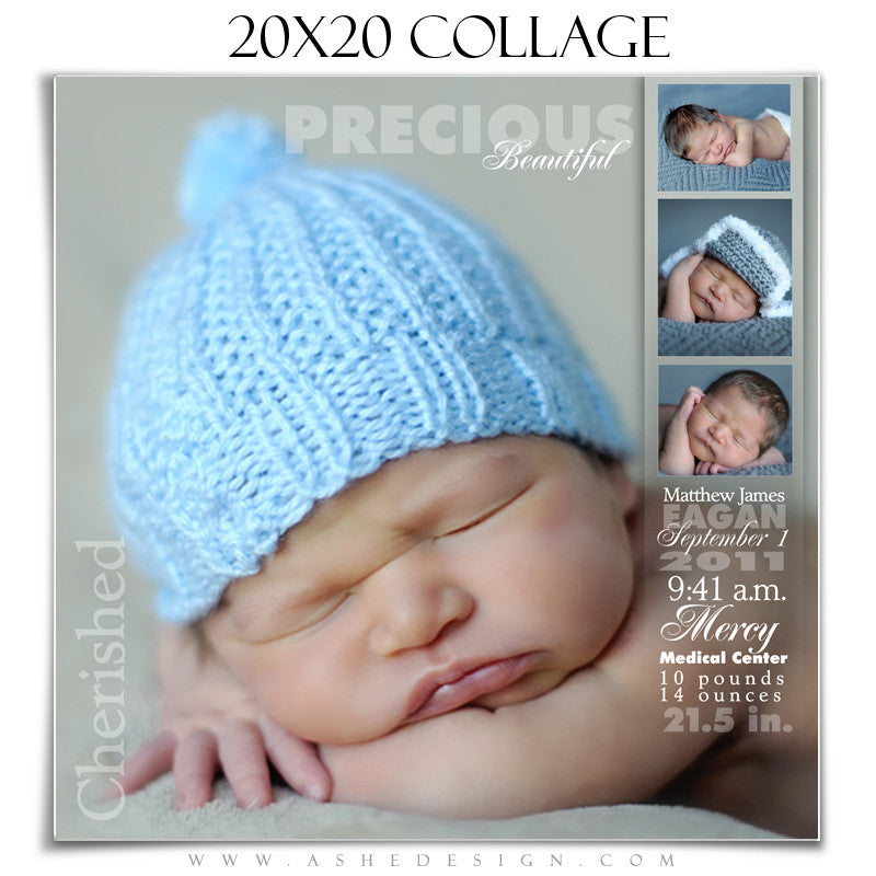 Ashe Design | Newborn Collage Template 20x20