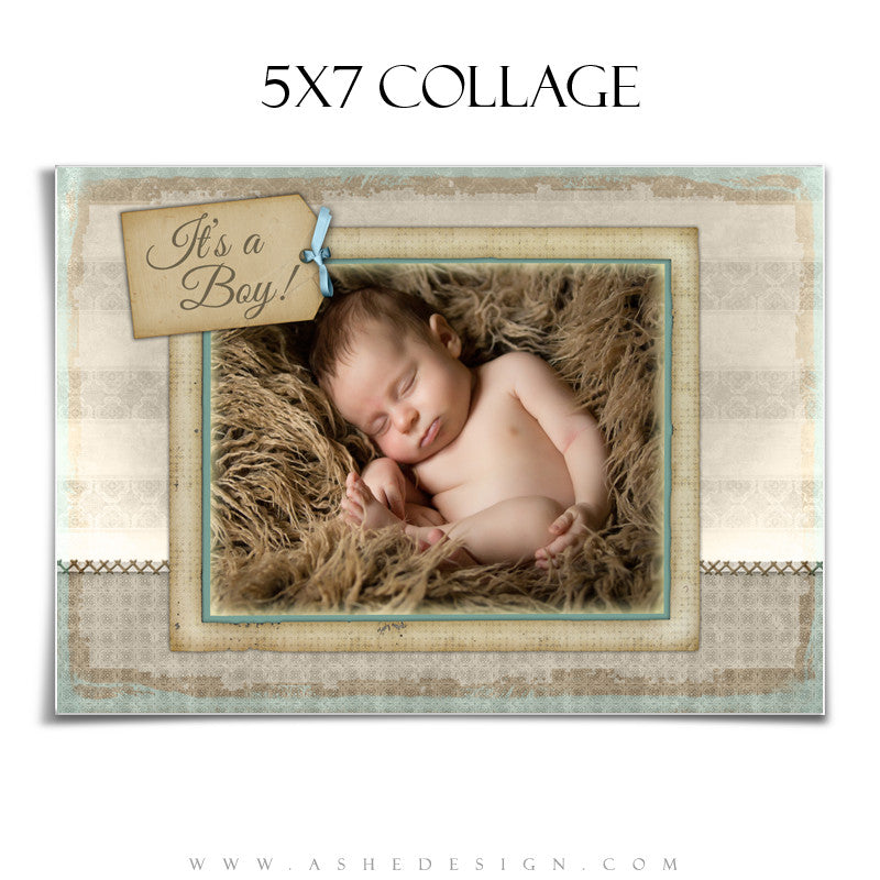 Newborn Boy Collage (5x7) - A Stitch In Time (Boy)
