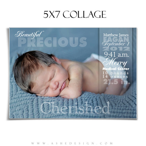 Ashe Design | 5x7 Newborn Photography Template | Sculpting Words