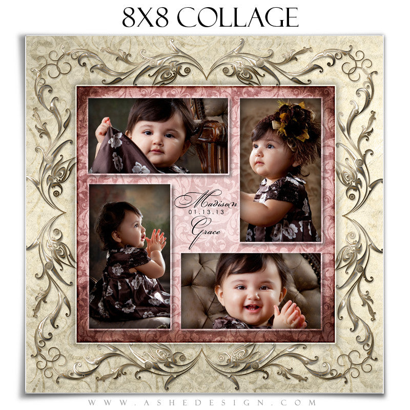 Baby Girl Collage (8x8) - Madison Grace