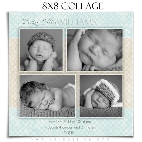Baby Boy Collage (8x8) - Parker Elliot