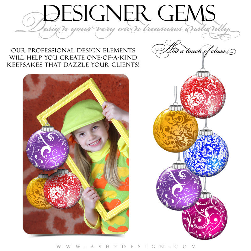 Designer Gems - Swirly Ornaments Color