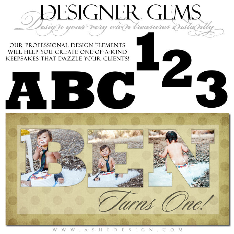 Designer Gems - Extra Bold Alphabet Photo Masks