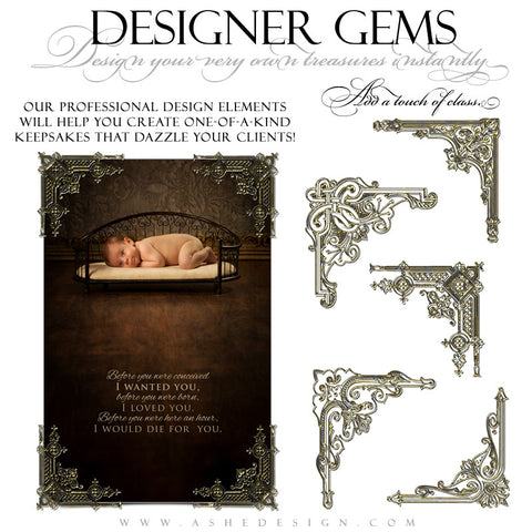Designer Gems - Gold Filigree Corners