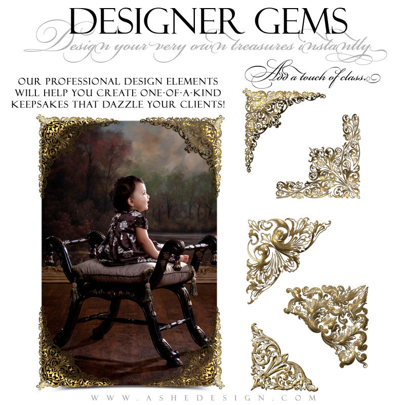 Designer Gems - Gold Leaf Corners