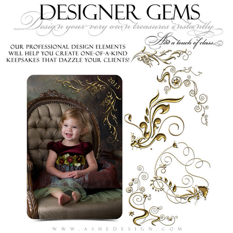 Designer Gems - Gold Leaf Fantasy Swirls