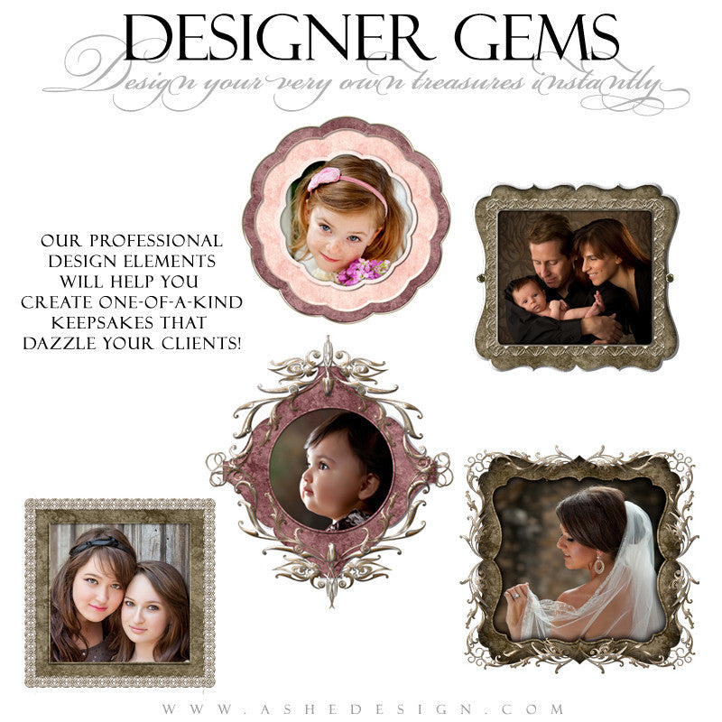 Designer Gems - Ornate Filigree Frames