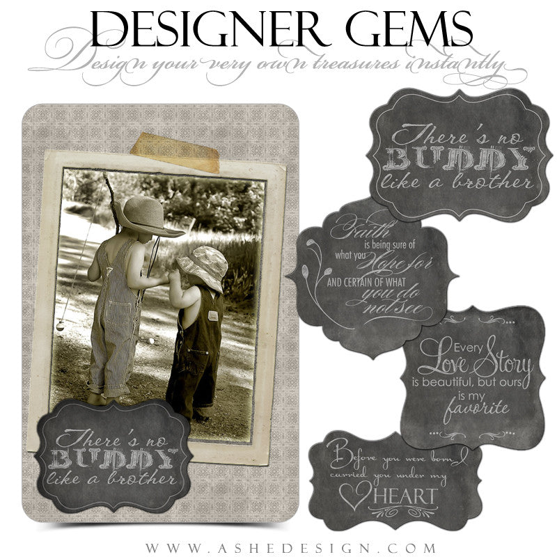 Designer Gems - Slateboard Ornate Shapes