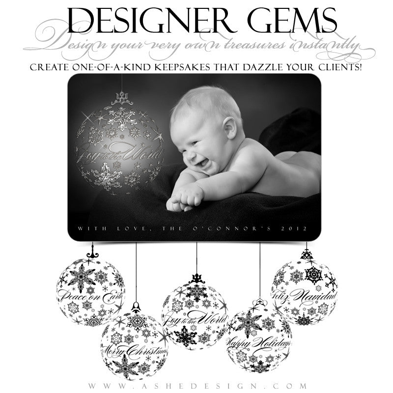 Designer Gems - Snowflake Ornament Greeting Stamps