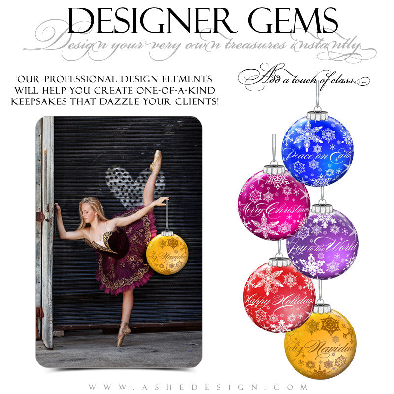 Designer Gems - Snowflake Ornament Greetings Color