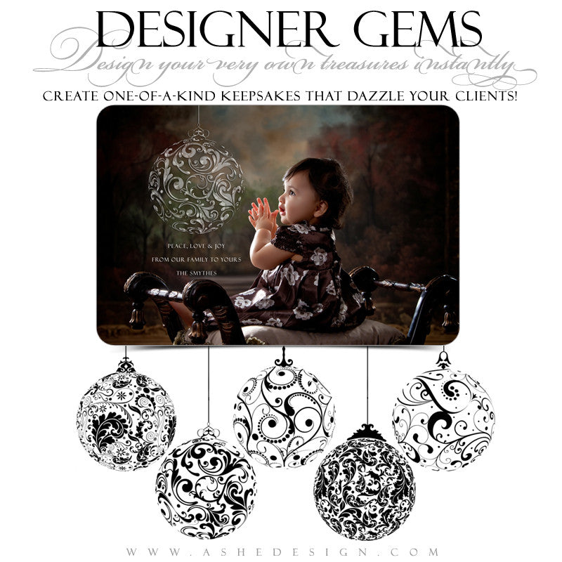 Designer Gems - Swirly Ornaments Stamps