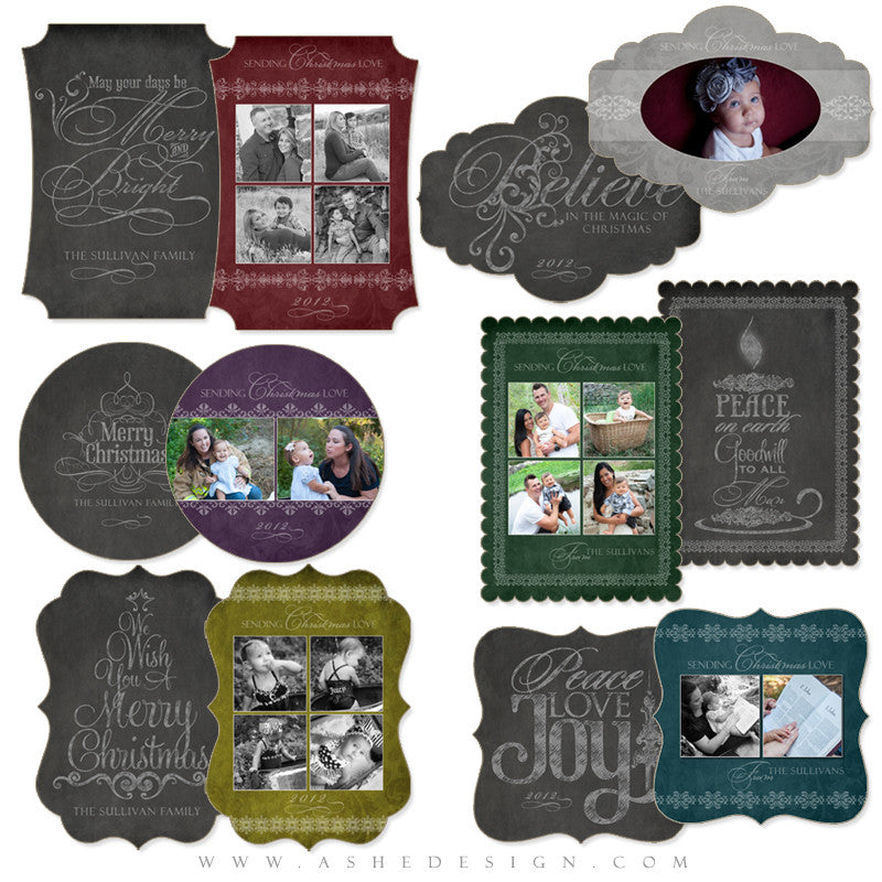 Die Cut Christmas Card Set - Chalkboard