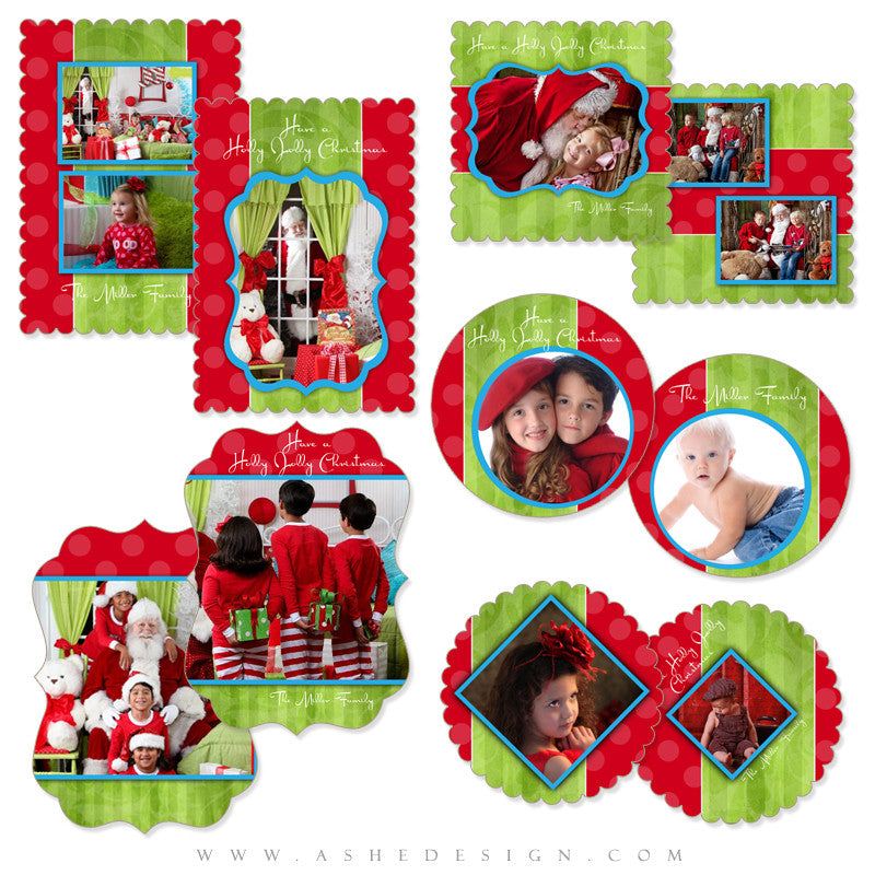 Die Cut Christmas Card Set - Holly Jolly Christmas