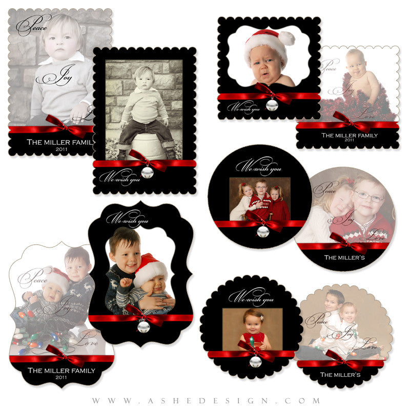 Die Cut Card Design Set - Jingle Bell Black