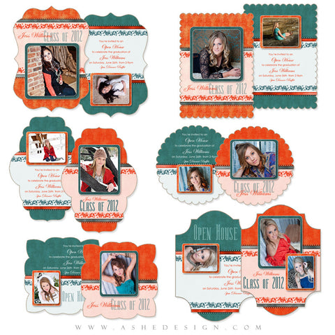 Graduation Die Cut Card Invitation Set - Tangerine Tango