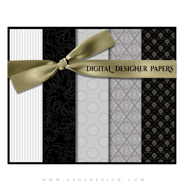 Digital Designer Paper Set - Classic Black & White