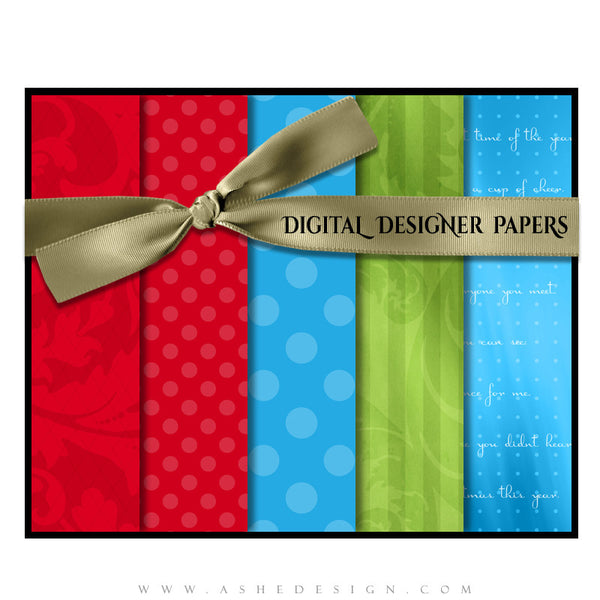Digital Designer Paper Set - Holly Jolly Christmas