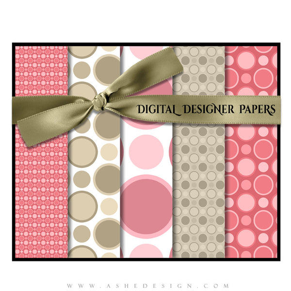 Digital Designer Paper Set - Raspberry Cream