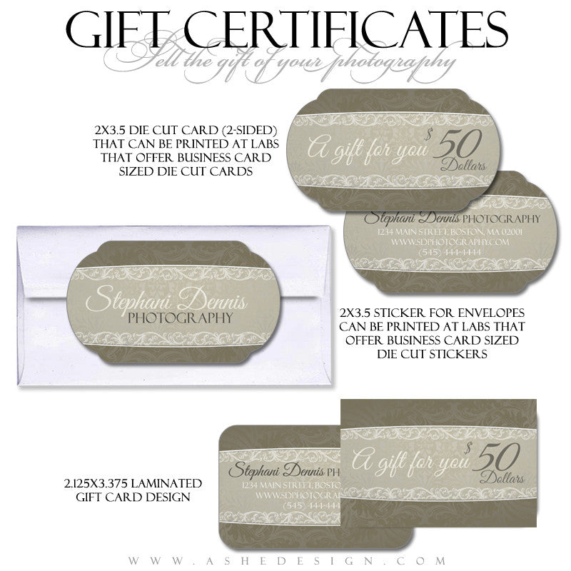 Antique Damask Gift Certificate Templates Ashedesign