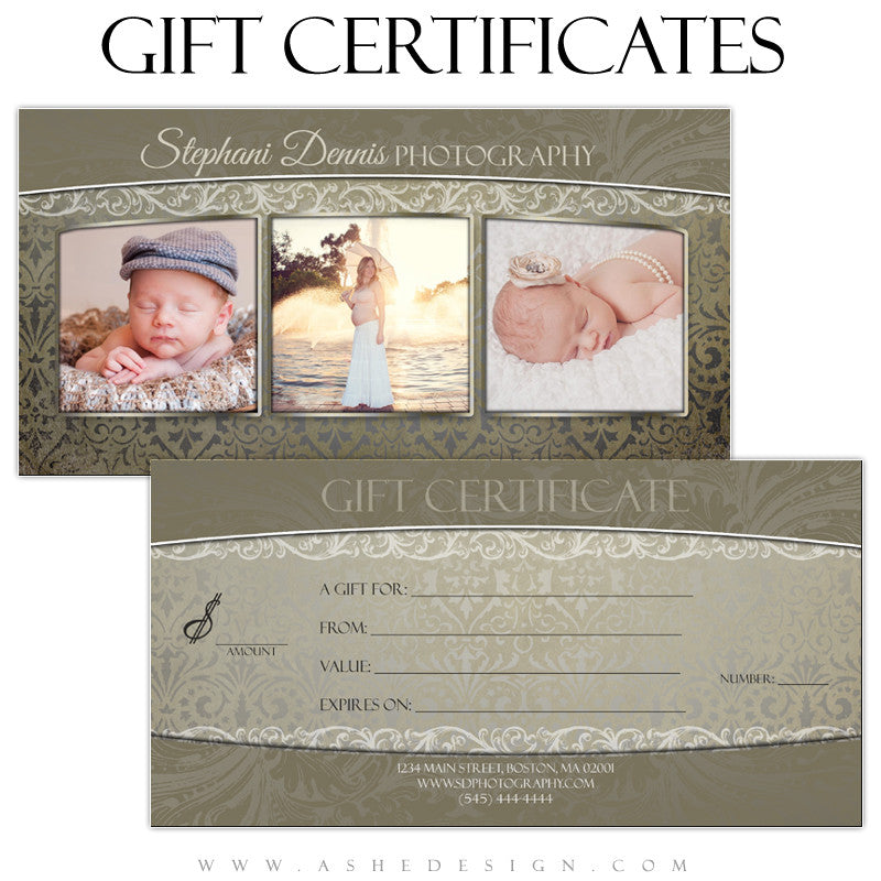 Gift Certificate Designs - Antique Damask