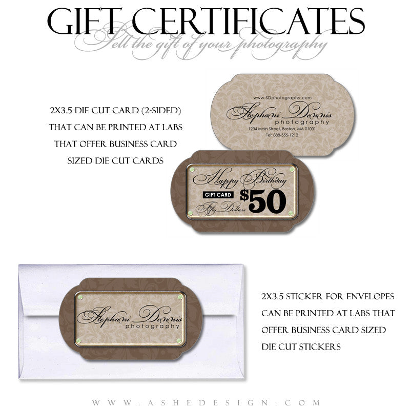 Simply Swirly Gift Certificate Template Set Ashedesign